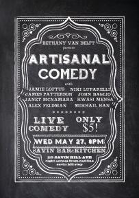 artisanal comedy event flyer
