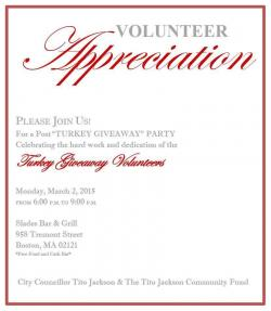 Turkey Giveaway Volunteer Appreciation Dinner March 2 MyDorchester