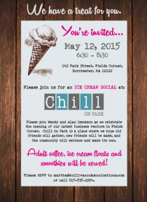 flyer for chill on park social