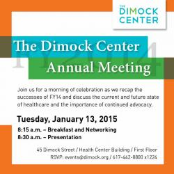 Dimock Center's annual meeting info