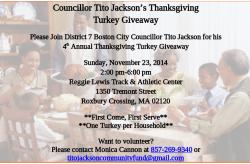 Councillor Tito Jackson's Thanksgiving Turkey Giveaway   Nov. 23